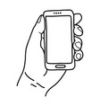 left hand holding small mobile phone - vector image vector image