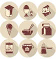 Lunch brown flat style icons set