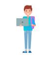 male student teenage schoolboy freshman notebook vector image vector image