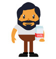 man standing with milk on white background vector image vector image