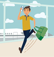 Man with bag late for the plane vector image vector image
