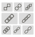 monochrome icons with chains vector image vector image