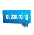 outsourcing blue 3d speech bubble vector image vector image