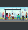 people were sitting at the modern bus stop vector image