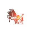 piano classic musician woman vector image vector image