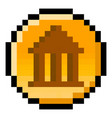pixel government coin - isolated vector image vector image