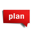 plan red 3d speech bubble vector image vector image