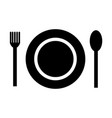plate fork and spoon icon vector image vector image