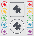 Puzzle piece icon sign symbol on the Round and vector image