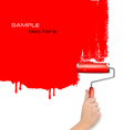 red background with hand and copy spase vector image