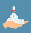 rocket ship in a flat vector image
