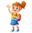school girl waving hand vector image vector image