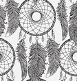 Seamless pattern with hand drawn dream catchers in vector image