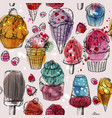 seamless pattern with yummy colorful watercolor vector image