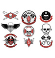 Set of biker badges and emblems vector image
