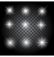 Set of Glowing Light Stars with Sparkles vector image vector image