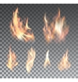 Set of realistic fire flames on transparent vector image vector image
