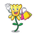 shopping daffodil flower character cartoon vector image vector image