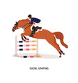 show jumping flat horse rider vector image