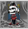 skull mafia holding gun hand drawing vector image