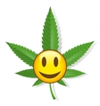 Smiling cannabis sign vector image vector image