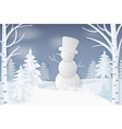 snowman standing in forest with pine and birches vector image vector image