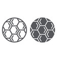 soccer ball line and glyph icon play and game vector image vector image