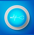 stethoscope with a heart beat icon pulse care vector image
