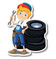 sticker design with auto mechanic cartoon