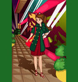 stylish women going shopping vector image vector image