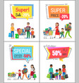 super sale with special offer for big purchases vector image vector image