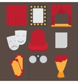 Theatre acting performance icons set with ticket vector image