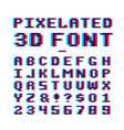video game pixelated 3d font 8 bit pixel art old vector image