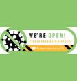 we are open sign plate on facade door shop vector image vector image