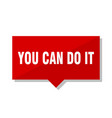 you can do it red tag vector image vector image