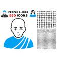 buddhist monk icon with bonus vector image