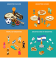 Argentina 4 Touristic Isometric Icons Square vector image