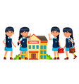 asian girl kid poses set primary school vector image vector image