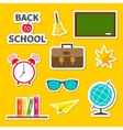 Back to school icon set Green board bell alarm vector image vector image