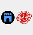 building icon and grunge smart home seal vector image vector image