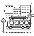 bus station bus and clock on city vector image