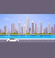 car drive street road over city skyscraper view vector image