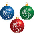 christmas ball with cock symbol new 2017 vector image vector image
