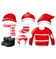 christmas clothes with hats and boots vector image vector image