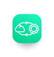 cloud technology line icon on green shape vector image vector image