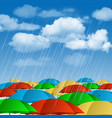 Colorful umbrellas in rain vector image vector image