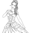 coloring beautiful princess vector image vector image