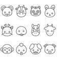 Cute cartoon chinese zodiac line icon