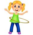 Cute girl cartoon twirling hula hoop vector image