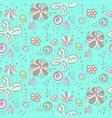 cute tender blue doodle floral pattern vector image vector image